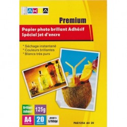 Grossist'Encre Papier Photo Brillant Adhésif A4 20 Feuilles