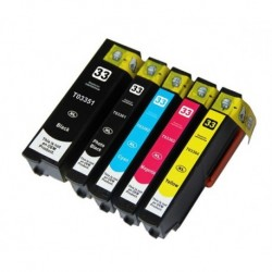 Grossist'Encre Lot de 5 Cartouches Haute Capacité Compatibles EPSON T3351+T3361+T3362+T3363+T3364