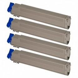 Grossist'Encre Cartouche Lot de 4 Cartouches Toners Lasers Compatibles pour OKI C9600 / C9800 BK/C/M/Y