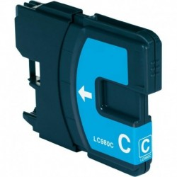 Grossist'Encre Cartouche Compatible BROTHER LC1100C / LC980C Cyan